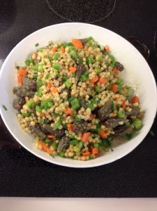Wheatberry salad with cholla buds--an April delight (MABurgess photo)