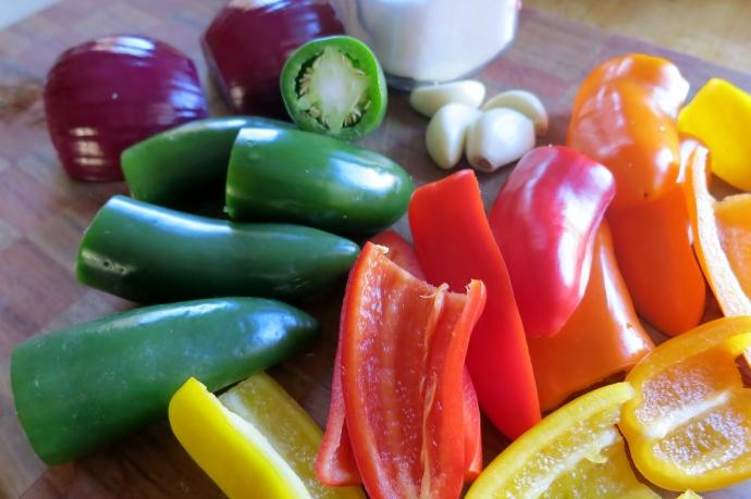 chiles, onion, garlic and salt