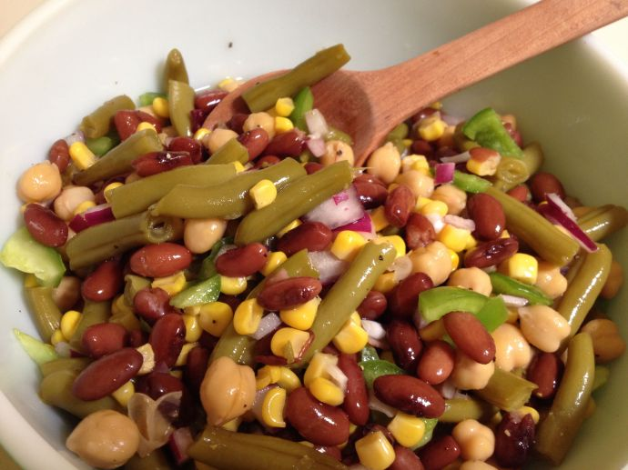 Marinated Mixed Bean Salad with Flor de Mayo heirlooms (MABurgess photo)