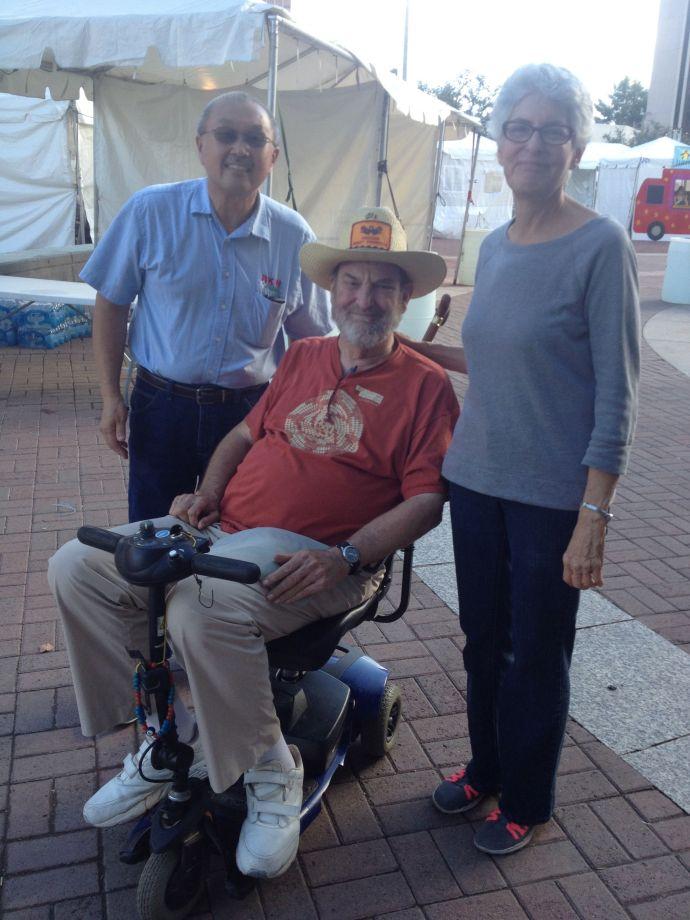 Organic Wheat Farmer Ron Wong, Big Jim Griffith, and Karen Dotson of BKWFarms at Tucson Meet Yourself 2014 (MABphoto)