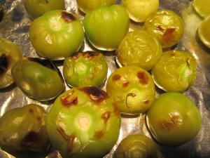 Roast the tomatillos until soft.