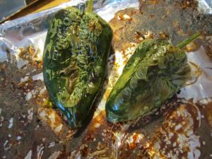 Nicely charred poblano chiles.
