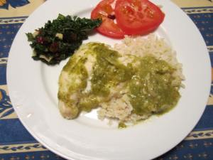 Salsa Verde on broiled chicken.