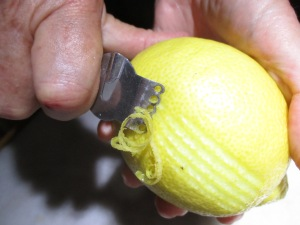 Zesting with a simple lemon zester.