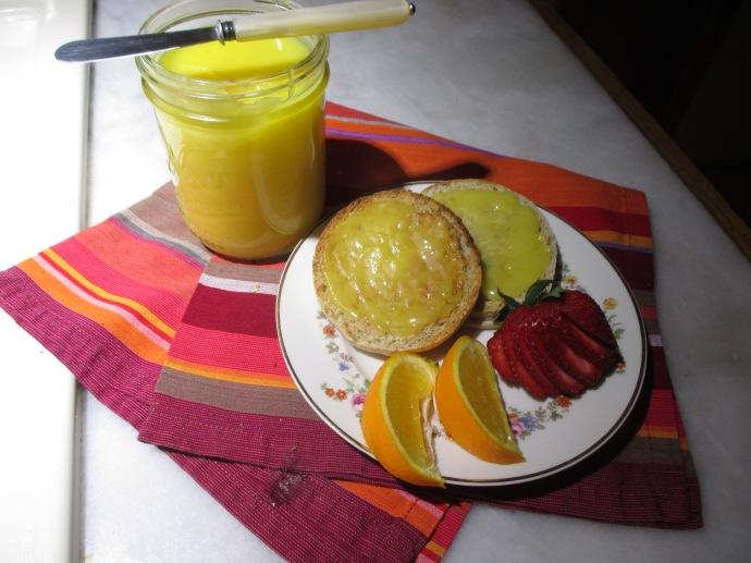 Lemon curd and English muffins make an elegant breakfast.