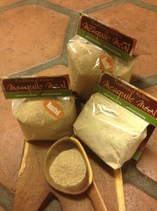 Comparing roasted mesquite flour and natural raw mesquite flour (MABurgess photo)