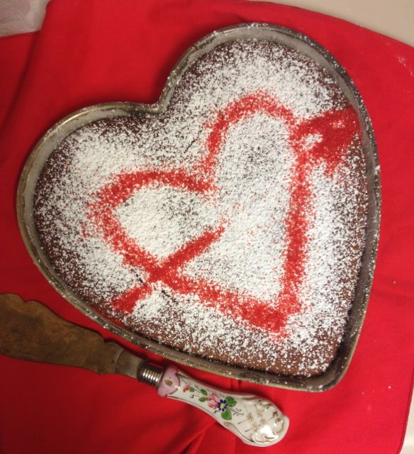 Valentine's gluten-free roasted mesquite/almond coffeecake (MABurgess photo)