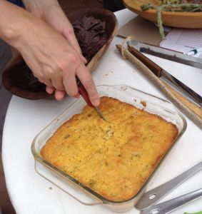 first cut into cholla bud cornbread--yum!
