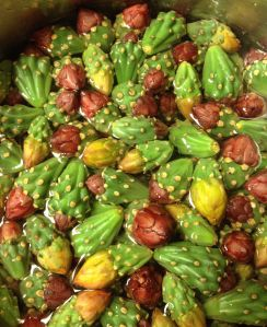 Cholla buds from yellow and red flowers--de-spined and ready to cook