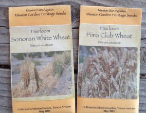Seed packets of heirloom wheat varieties grown at Mission Garden