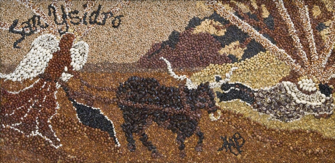 Heirloom bean mosaic of San Ysidro Labrador created by artist/ethnobotanist MABurgess