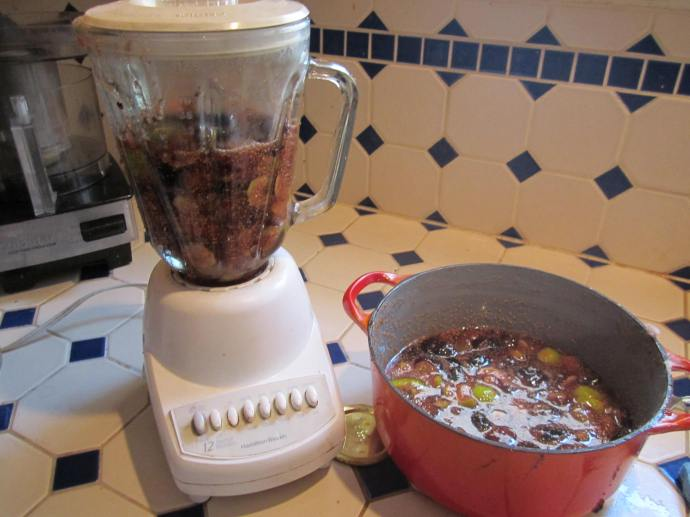 Blending the chopped figs for a smooth product.