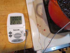 Battery-operated digital cooking thermometer.