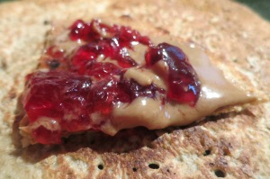 Prickly pear jelly on Sourdough Sonoran Wheat, Barley, Almond crepe