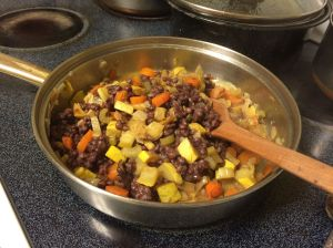 A savory pilaf made with heirloom purple prairie barley--watch for future recipes--Grain available at the Flor de Mayo booth, Sunday St Philips market