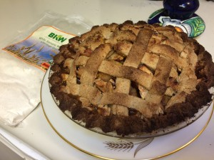 Membrillo/heirloom apple pie with mesquite/white Sonora wheat crust--hot and ready to serve