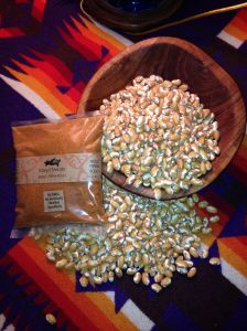 Try using Mano y Metate's Pipian Rojo Mole as a vegetarian spice for these Zuni Gold beans!