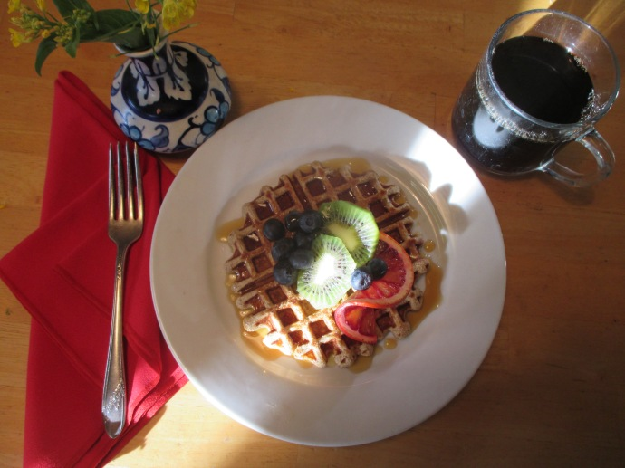 Mesquite waffles make a delicious breakfast or lunch.