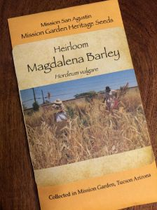 Packaged rare Magdalena Barley seed grown at Mission Garden--our own local treasure.