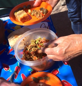 Delicious Marinated White Sonora Wheat-berry Salad with Cholla Buds at Mission Garden workshop (MABurgess)