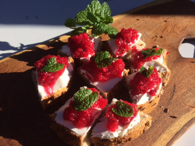 Here I've used Chiltepin-Cranberry Relish served with creamcheese-on-rye canapés
