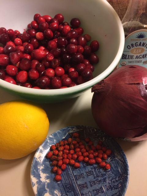 Ingredients for Chiltepin-Cranberry Relish--some local, some transported