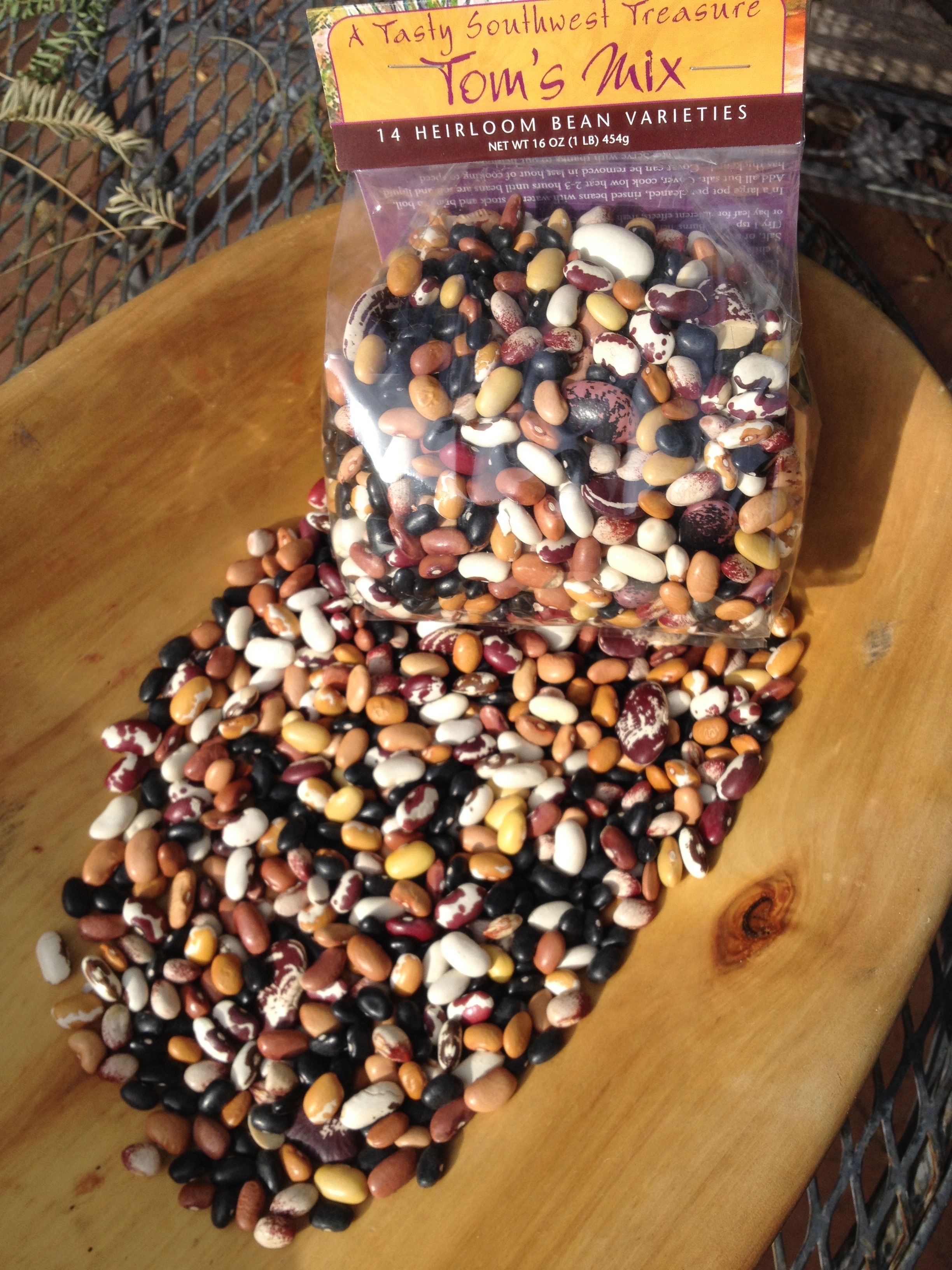 Tom's Mix 14-Heirloom Bean Mix makes a perfect gift from the Southwest--made spicy with chiltepines! Find them at NativeSeeds/SEARCH store, Tohono Chul Museum Shop, Wiwpul Du'ag at San Xavier Plaza, and the UNICEF Store in Monterrey Village, Tucson; or online www.flordemayoarts.com