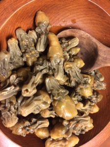 Locally-harvested buckhorn and staghorn cholla buds, reconstituted and ready to cut as toppings for pizza