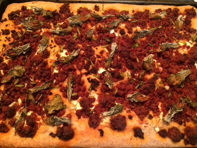 What a great combination--wild-harvested cholla buds, local chorizo, Fiore di Capra goat cheese, and truly flavorful organic wheat flour crust!