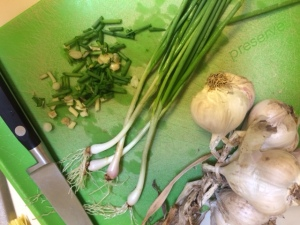 Native I'itoi's Onions and local heirloom garlic from my garden for pizza topping